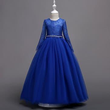 Catrina Long Sleeve Floral Lace Girls Princess Wedding Dress