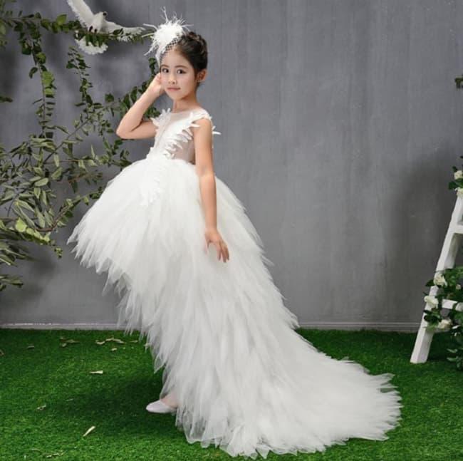 Kami White Swan Girls Wedding Princess Dress