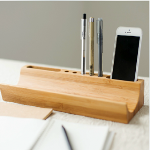 Stylish Bamboo Wooden Desk Organizer