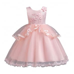 Coraline Floral Patches Girls Wedding Princess Dress