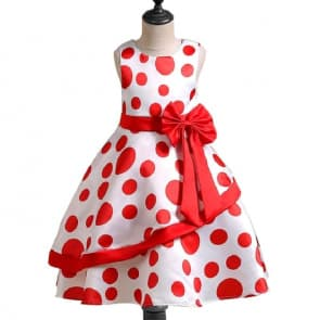 Esme Dots Printed Sleeveless Girls Princess Dress